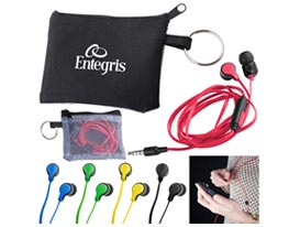 Promotional taffy-microphone-flat-wire-earbuds