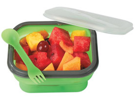 Promotional collapsible-food-container-with-dual-utensil