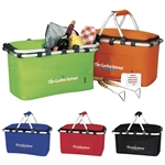 Promotional Polyester Multi Color KOOZIE Easy Storage Picnic Basket 19 X 9.75