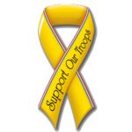 Promotional Support Our Troops Ribbon Die - cut Magnet For Car Exterior