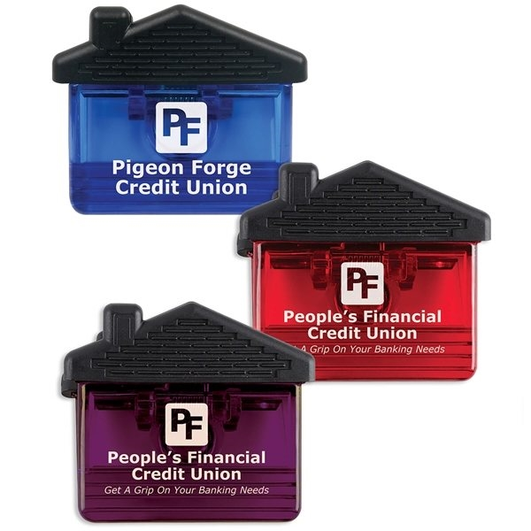Promotional BeckyS - House Shaped Clips With Extra Strong Metal Magnet Back And Rubber Grips.