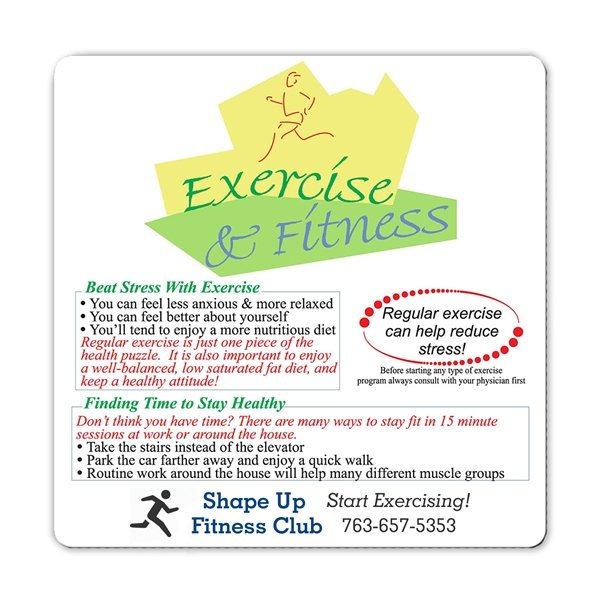 Promotional Health Safety Laminated Exercise Fitness Magnet