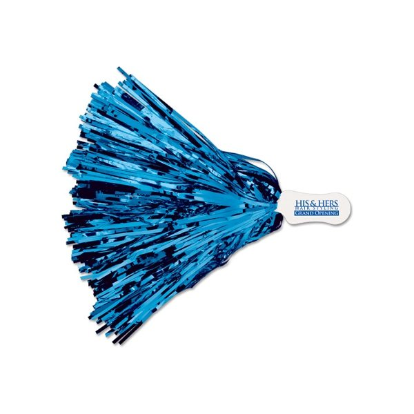 Promotional Contour Handle Imprinted All - Metallic Pom 500 Streamers