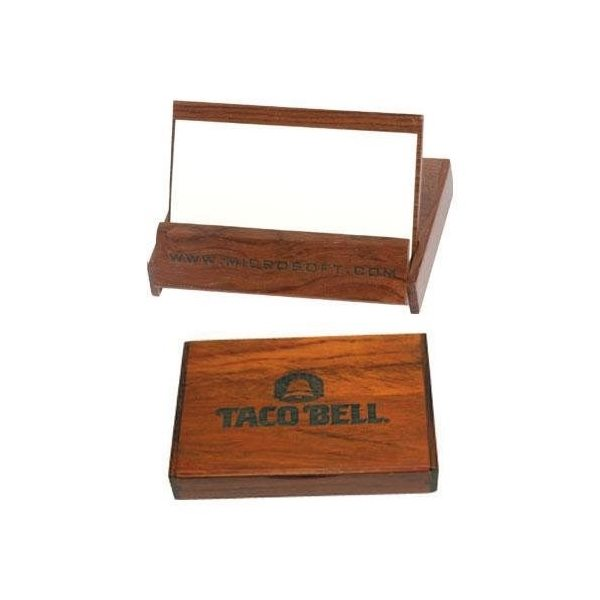 Promotional Flip - Top Rosewood Colored Business Card Holder