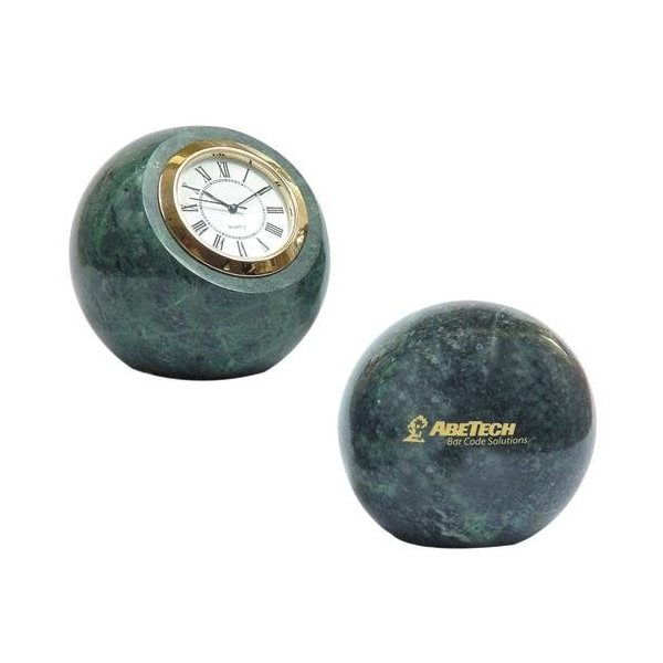 Promotional Marble Ball Paperweight with Clock