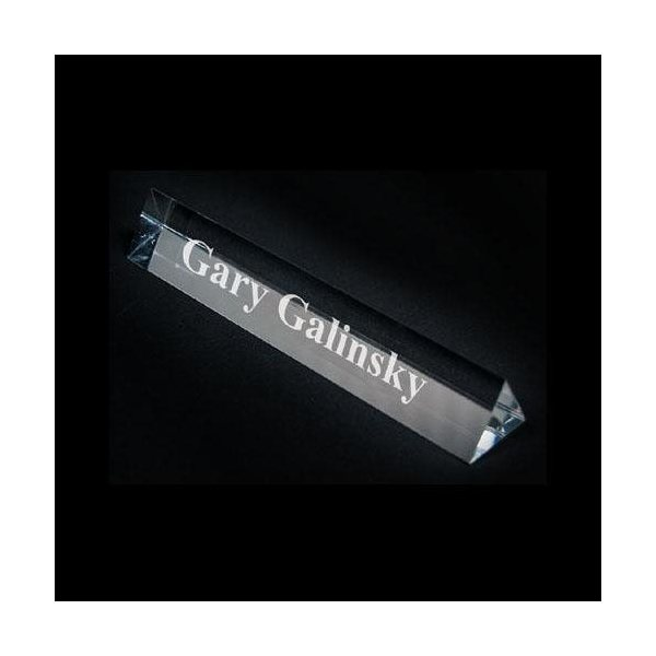 Promotional Crystal Prism Name Plate - 6 3/4w x 1h x 1d