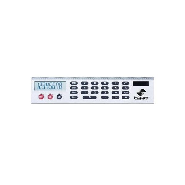 Promotional Silver Calculator Ruler with Jumbo LCD Display