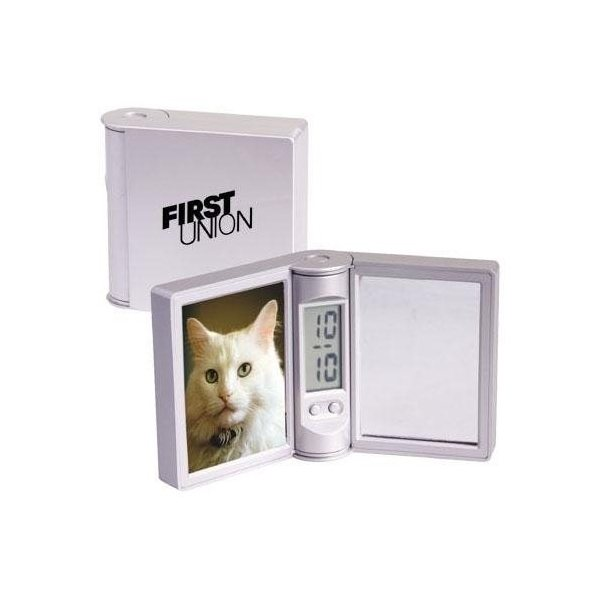 Promotional Folding Clock / Photo Frame with Mirror
