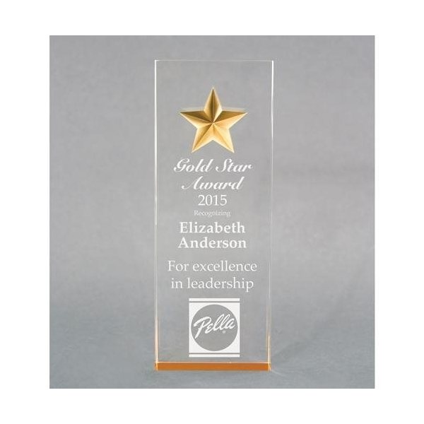 Promotional Acrylic Tapered Star Award - 2 7/8 x 8