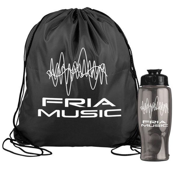 Promotional Drawstring Backpack in a Bottle Combo Kit