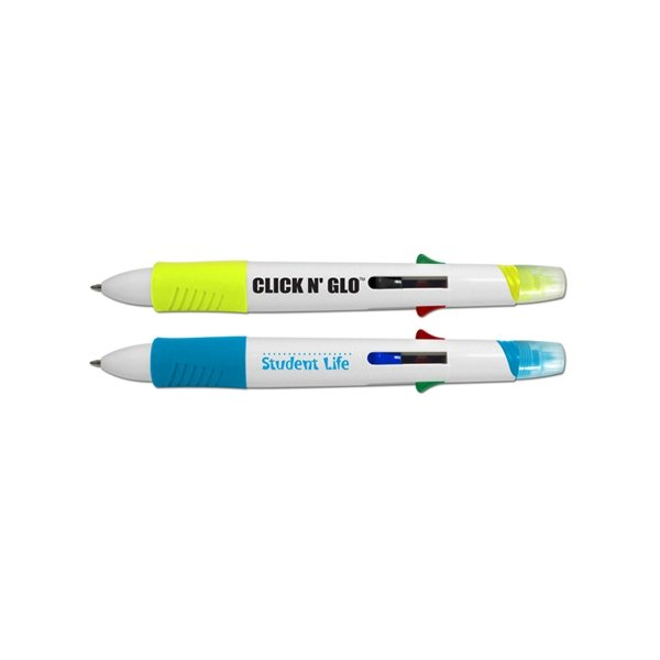 Promotional Click n Glo 5 in 1 Fluorescent Highlighter 4 Color Pen Combo