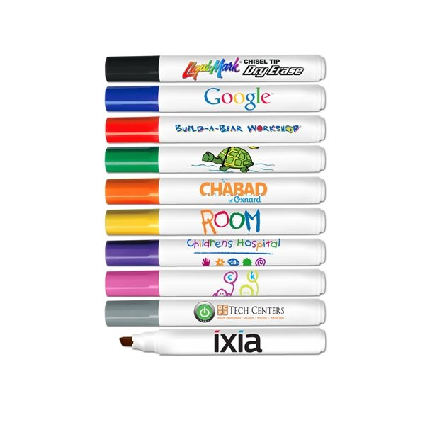 Promotional Chisel Tip Dry Erase Markers - Full Color Decal Print - USA Made