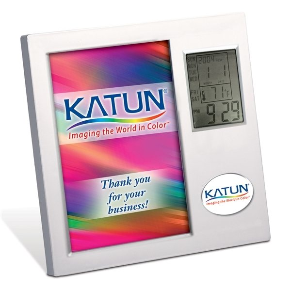 Promotional Time / Temperature Photo Frame 6 15/16 W x 6 15/16 H