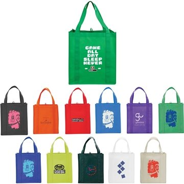 Non Woven Multi Color Big Grocery Tote 13 X 15