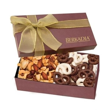 The Executive Gift Box Mini Chocolate Covered Pretzels Mixed Nuts