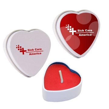 Promotional heart-tin-candle