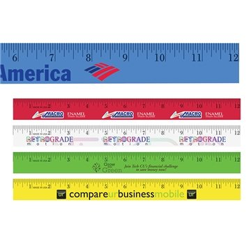 Promotional 12 Enamel Wood Ruler, Full Color Digital