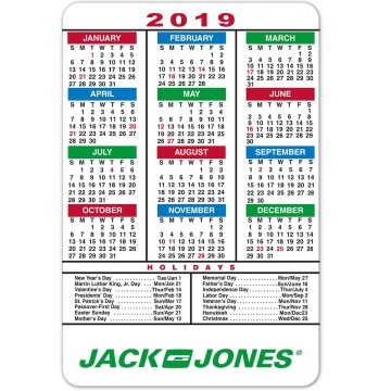Multicolor Magnetic Calendar With Holidays