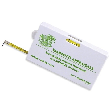 Business Card 6' 7'' Tape Measure With Level And Tape Lock.