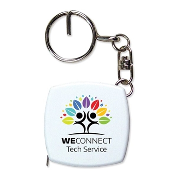 Promotional Key Chain Tape Measure With 6 Metal Tape, Split Ring And Chain.
