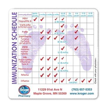 Health & Safety Laminated Immunization Schedule Magnet