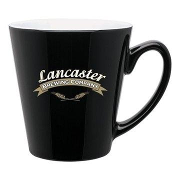 12 oz Mini Latte mug - black / white
