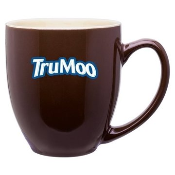 15 oz Bistro Mug 2 Tone Glossy Brown Glossy Cream