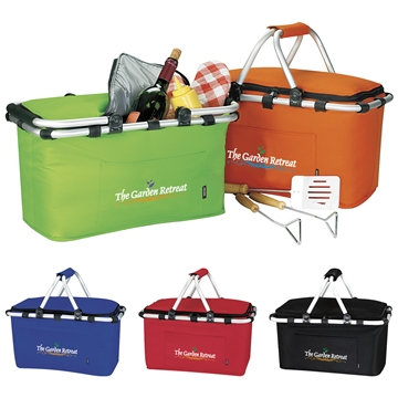 Polyester Multi Color KOOZIE Easy Storage Picnic Basket 19'' X 9.75''
