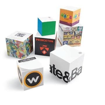 Promotional Full size non adhesive note cube. 2 1/2 x 2 1/2 x 2 1/2.
