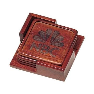 Square Rosewood Coaster Set/Holder
