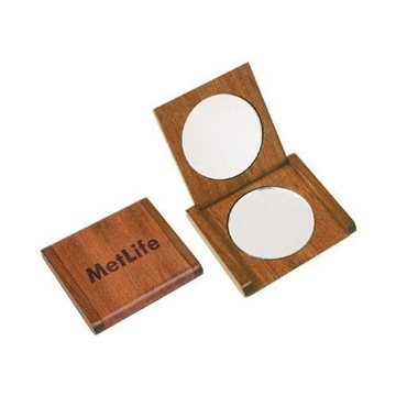 Promotional Solid Rosewood Double Mirror Compact