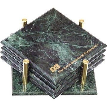 Set of 4 Square Marble Coasters with Stand