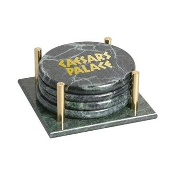 Promotional Set of 4 Round Marble Coasters with Stand