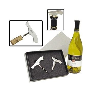 Promotional Aluminum Corkscrew and Wine Stopper Gift Set