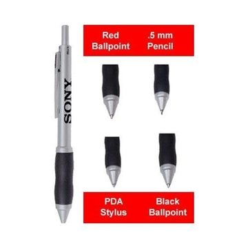 Promotional 4- in -1 Pen PDA Stylus with Silicone Rubber Grip