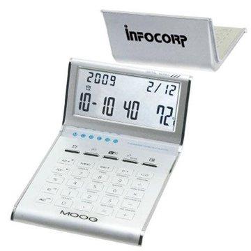Promotional Aluminum Slim Line Calculator / Clock with Date, and Temperature