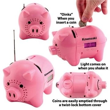 AM/FM Clock Radio Piggy Bank with ''Oink'' Sound