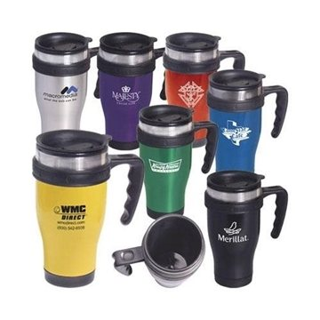 Promotional Stainless Steel Large - Grip Mug with Closure Top