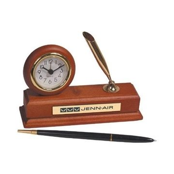 Promotional Wood Alarm Clock Desk Set with Pen