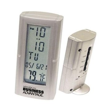 Promotional Die - Cast Metal Desk Alarm Clock with Thermometer