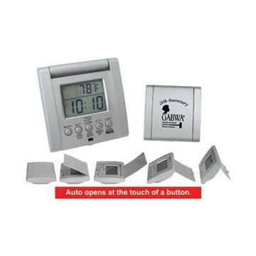 Auto-Open Traveler's Thermometer/Alarm Clock
