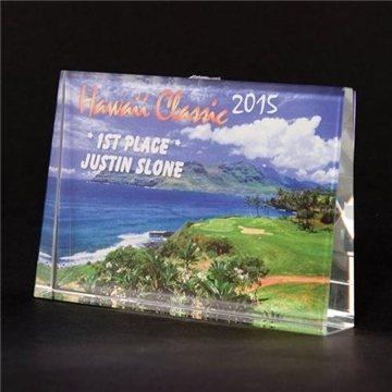 Full-Color Lead Crystal Large Horizontal Wedge Award - 5 7/8'' x 3 7/8''