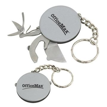 Stainless Steel Multi-Tool Disk with Keychain.