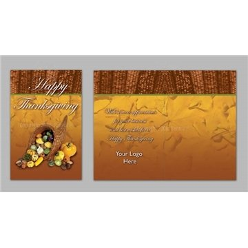 Promotional Happy Thanksgiving / Cornocopia - Executive Greeting Cards with Magnets