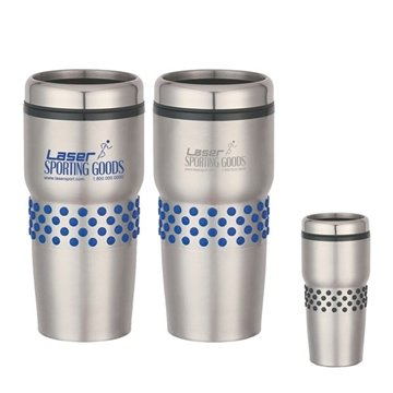 16 oz Stainless Steel Tumbler With Dotted Rubber Grip
