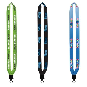 3/4'' Dye-Sublimated Lanyard with Plastic Clamshell and Plastic O-Ring