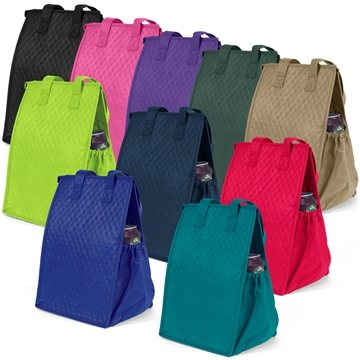 Non Woven Multi Color Thermosnack Lunch Style Zippin Tote Bag 8'' X 12''