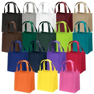 Non Woven Screen Print Multi Color Little Thinder Tote Bag 12'' X 13''
