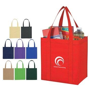 Non Woven Multi Color Reusable Avenue Shopper Tote Bag 12'' X 13''