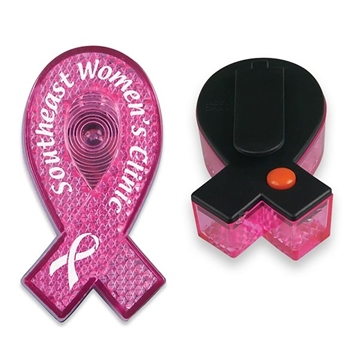 Promotional Pink Ribbon Blinking LED Light Clip
